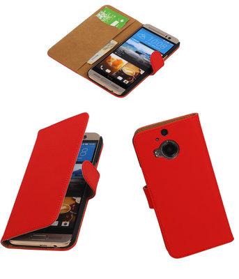 Hoesje voor HTC One M9 Plus Effen Booktype Wallet Rood
