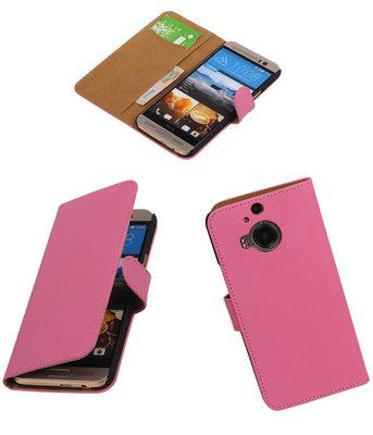 Hoesje voor HTC One M9 Plus Effen Booktype Wallet Roze