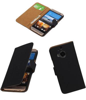 Hoesje voor HTC One M9 Plus Effen Booktype Wallet Zwart