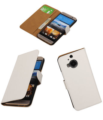Hoesje voor HTC One M9 Plus Effen Booktype Wallet Wit