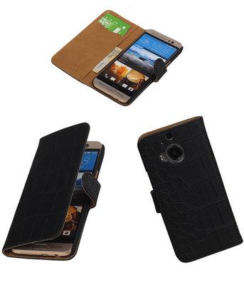 Hoesje voor HTC One M9 Plus Croco Booktype Wallet Zwart