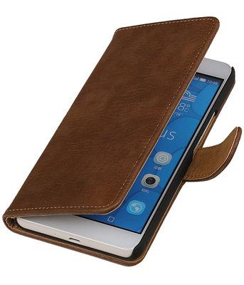 Hoesje voor LG G4c Bark Hout Bookstyle Wallet Bruin