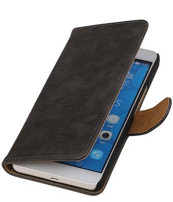 Hoesje voor LG G4c Bark Hout Bookstyle Wallet Grijs