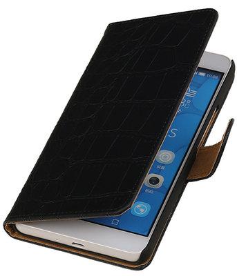 Hoesje voor LG G4c Croco Bookstyle Wallet Zwart