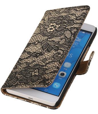 Hoesje voor LG G4c Lace Kant Bookstyle Wallet Zwart