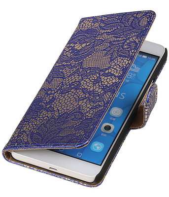 Hoesje voor LG G4c Lace Kant Bookstyle Wallet Blauw
