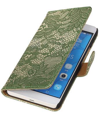 Hoesje voor LG G4c Lace Kant Bookstyle Wallet Donker Groen