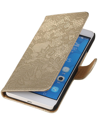 Hoesje voor LG G4c Lace Kant Bookstyle Wallet Goud