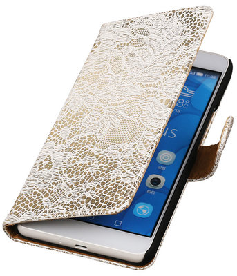 Hoesje voor LG G4c Lace Kant Bookstyle Wallet Wit