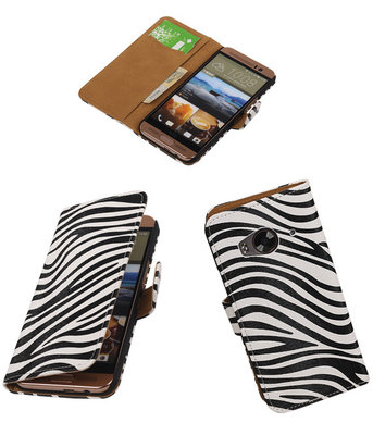 Hoesje voor HTC One Me Zebra Bookstyle Wallet