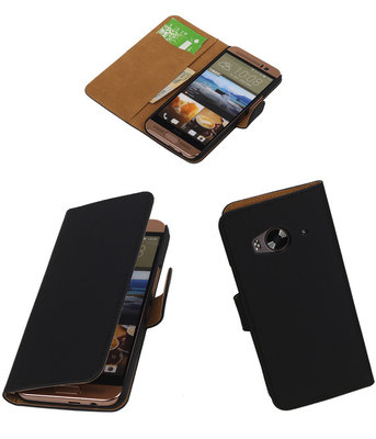 Hoesje voor HTC One Me Effen Bookstyle Wallet Zwart