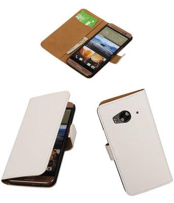 Hoesje voor HTC One Me Effen Bookstyle Wallet Wit