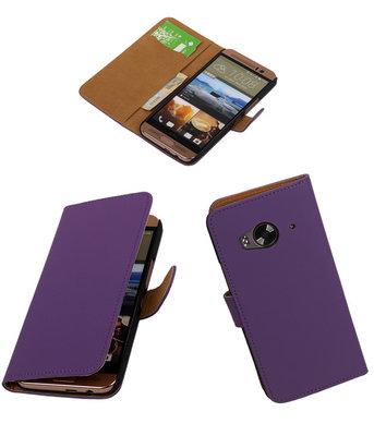 Hoesje voor HTC One Me Effen Bookstyle Wallet Paars
