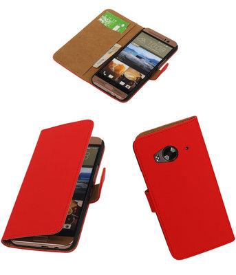 Hoesje voor HTC One Me Effen Bookstyle Wallet Rood