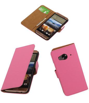 Hoesje voor HTC One Me Effen Bookstyle Wallet Roze