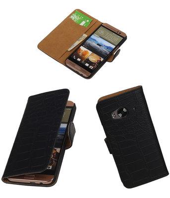Hoesje voor HTC One Me Croco Bookstyle Wallet Zwart