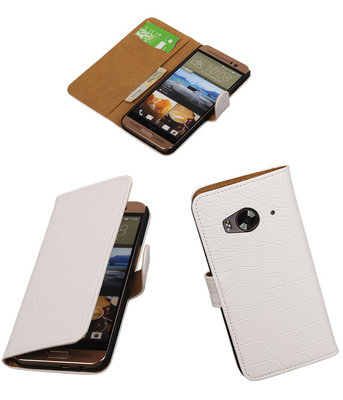 Hoesje voor HTC One Me Croco Bookstyle Wallet Wit