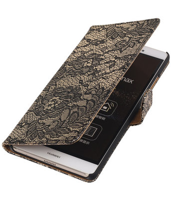 Hoesje voor Sony Xperia E4g Lace Kant Bookstyle Wallet Zwart