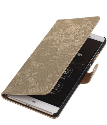 Hoesje voor Sony Xperia E4g Lace Kant Bookstyle Wallet Goud