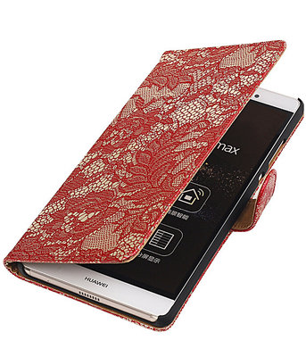Hoesje voor Sony Xperia E4g Lace Kant Bookstyle Wallet Rood