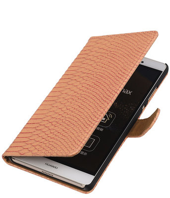 Sony Xperia E4g Snake Slang Bookstyle Wallet Hoesje Roze