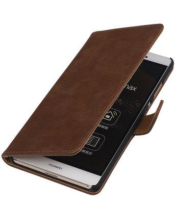 Hoesje voor Sony Xperia M4 Aqua Bark Hout Bookstyle Wallet Bruin