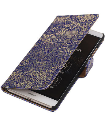 Hoesje voor Sony Xperia M4 Aqua Lace Kant Bookstyle Wallet Blauw