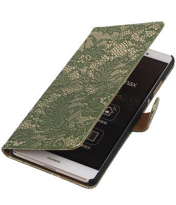 Hoesje voor Sony Xperia M4 Aqua Lace Kant Bookstyle Wallet Donker Groen