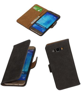 Hoesje voor Samsung Galaxy A8 2015 Bark Hout Bookstyle Wallet Grijs