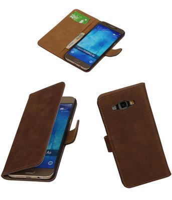 Hoesje voor Samsung Galaxy A8 2015 Bark Hout Bookstyle Wallet Bruin