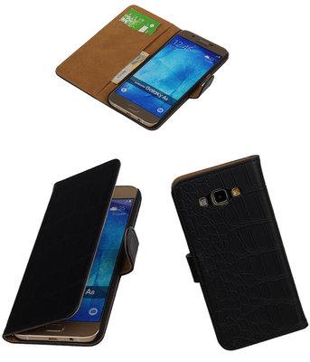 Hoesje voor Samsung Galaxy A8 2015 Croco Bookstyle Wallet Zwart