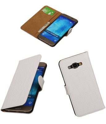 Hoesje voor Samsung Galaxy A8 2015 Croco Bookstyle Wallet Wit