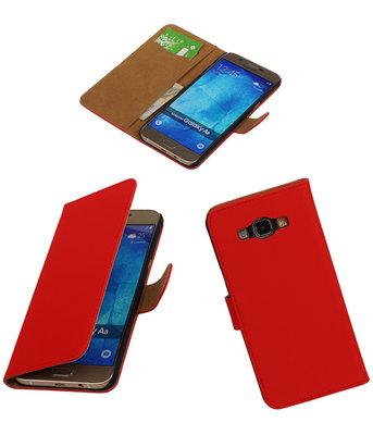Hoesje voor Samsung Galaxy A8 2015 Effen Bookstyle Wallet Rood