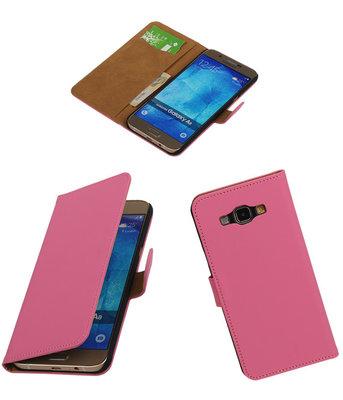 Hoesje voor Samsung Galaxy A8 2015 Effen Bookstyle Wallet Roze