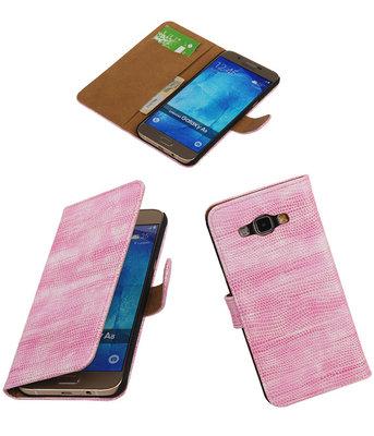 Hoesje voor Samsung Galaxy A8 2015 Bookstyle Wallet Mini Slang Roze