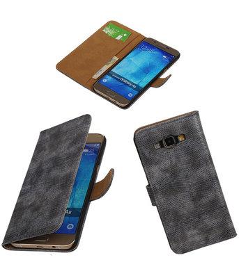 Hoesje voor Samsung Galaxy A8 2015 Bookstyle Wallet Mini Slang Grijs