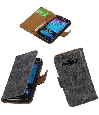 Samsung Galaxy J1 2015 Booktype Wallet Hoesje Mini Slang Grijs