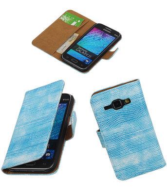 Samsung Galaxy J1 2015 Booktype Wallet Hoesje Mini Slang Blauw