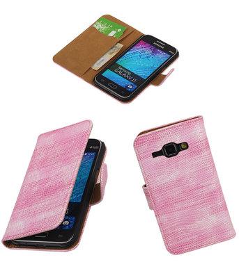 Samsung Galaxy J1 2015 Booktype Wallet Hoesje Mini Slang Roze