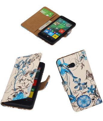 Hoesje voor Microsoft Lumia 640 Bookstyle Bloem Blauw