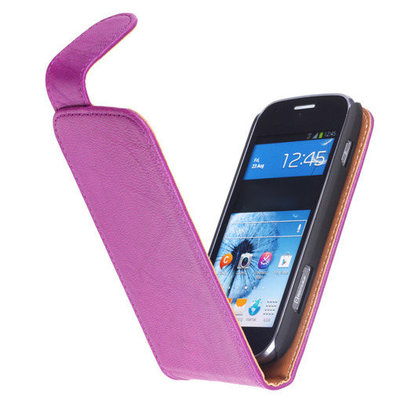 Polar Echt Lederen Lila Hoesje voor HTC One M7 Flipcase