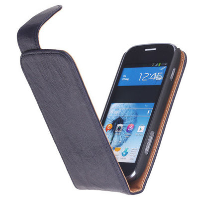 Polar Echt Lederen Navy Blue Hoesje voor HTC One mini M4 Flipcase