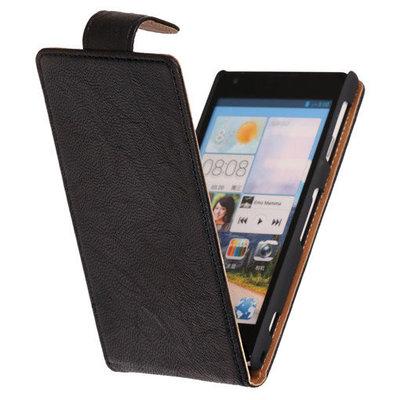 Polar Echt Lederen Zwart Hoesje voor Sony Xperia L C2105 Flipcase