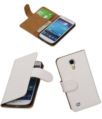 Hoesje voor Samsung Galaxy S4 mini - Croco Wit Booktype Wallet