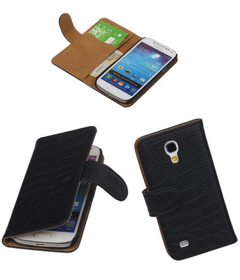 Hoesje voor Samsung Galaxy S4 mini - Croco Zwart Booktype Wallet
