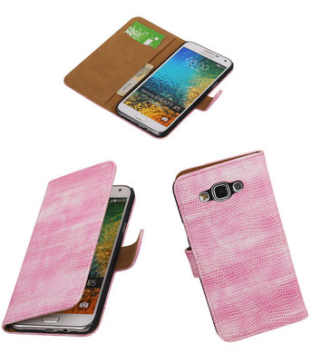 Samsung Galaxy E5 Booktype Wallet Hoesje Mini Slang Roze