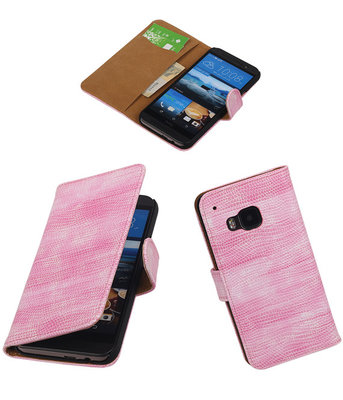 Hoesje voor HTC One M9 Booktype Wallet Mini Slang Roze
