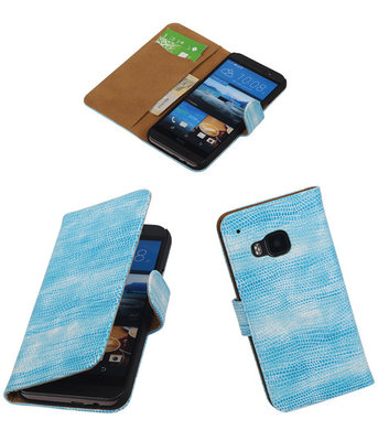 Hoesje voor HTC One M9 Booktype Wallet Mini Slang Blauw