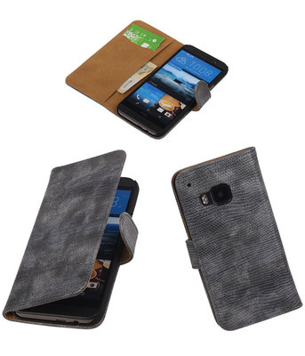 Hoesje voor HTC One M9 Booktype Wallet Mini Slang Grijs