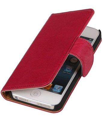 Echt Lederen Fuchsia Apple iPhone 5 Bookstyle Wallet Hoesje